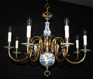 VINTAGE FLEMISH DELFT CHANDELIER  BLUE & WHITE  CERAMIC CEILING LIGHT  Ref: ADC19